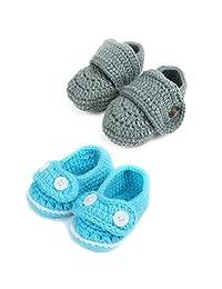 kilofly Socks Baby Boy Newborn Infant Hand Crochet Shoes Booties, Set of 2