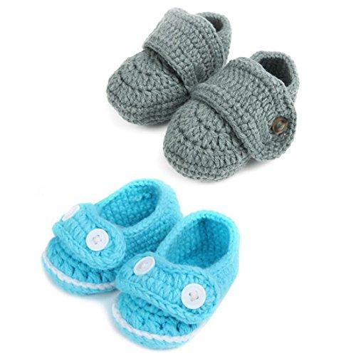 (kilofly Socks Baby Boy Newborn Infant Hand Crochet Shoes Booties, Set of)
