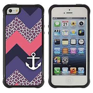"Pulsar iFace Series Tpu silicona Carcasa Funda Case para Apple iPhone SE / iPhone 5 / iPhone 5S , Chevron púrpura del velero"""