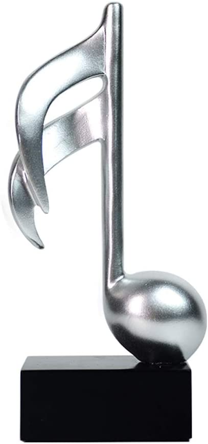 Olpchee Small Silver Music Symbol Resin Statue Sculpture Desktop Decoration (B)