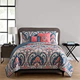 VCNY Home Casa Re'al 5 Piece Reversible Quilt Set, Full/Queen, Coral