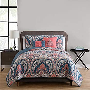 VCNY Home 5 PC Bohemian Reversible Quilt Cover and Pillow Shams Bedding Set