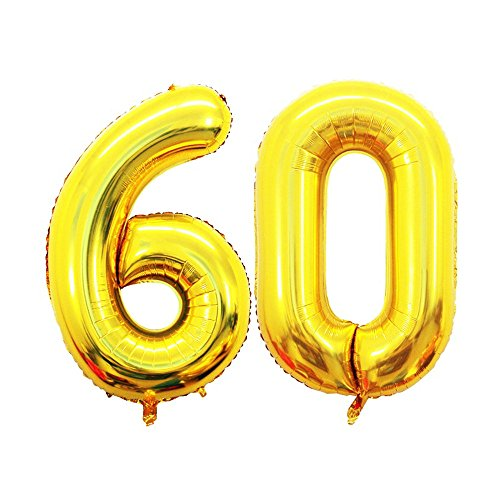 GOER 42 Inch Gold Number 60 Balloon,Jumbo Foil Helium Balloons for 60th Birthday Party Decorations and 60th Anniversary Event]()