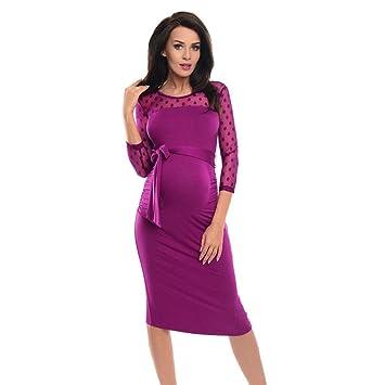 Vestido informal de maternidad con encaje a puntos para embarazadas. azul rosa brillante M