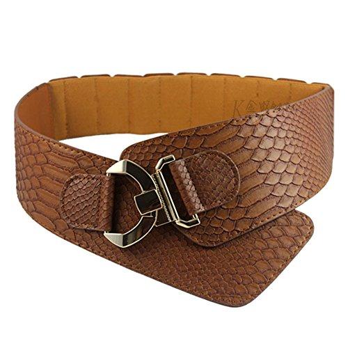 Meiyiu - Cinturón elástico Ancho para Mujer, diseño de cocodrilo, Simple y Decorativo, Amarillo marrón