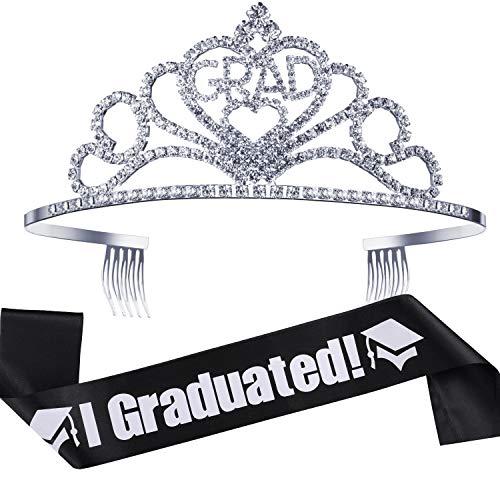 2019 Graduation Party Supplies Kits, Glittered Metal Graduation Princess Grad Crown Tiara and Graduated Sash, Great Gifts for Graduation Party Decorations Grad Decor Favors (Black)