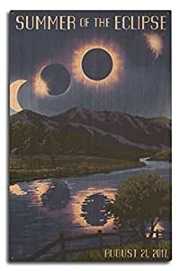 Solar Eclipse 2017 - Summer of the Eclipse (10x15 Wood Wall Sign, Wall Decor Ready to Hang)