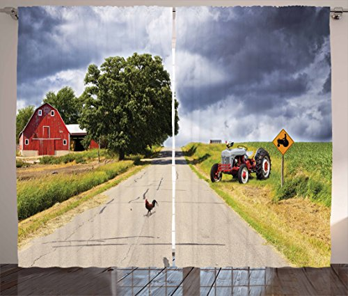 Ambesonne Rural Curtains, Farmhouse on The Country Road with Barn and Tractor on Side in Stormy Day Picture, Living Room Bedroom Window Drapes 2 Panel Set, 108