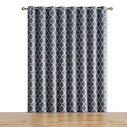 me lattice print thermal grommet room darkening blackout patio door curtain for sliding glass - Sliding Glass Door Curtains