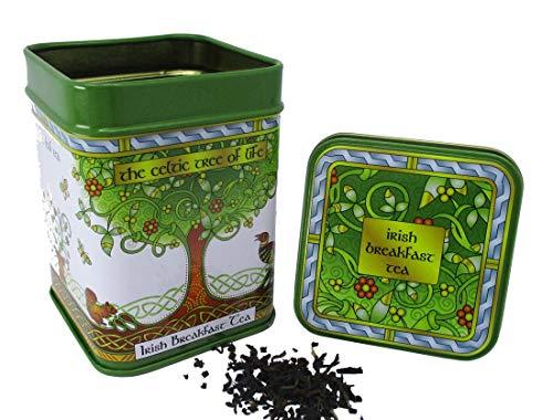 Irischer Frühstückstee von Loose Leaf Black Blend | Celtic Tree Keltischer Baum Tin Dose Irland Getränk | Nettogewicht: 40 g Bruttogewicht: 95 g