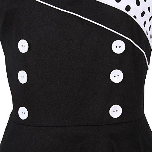 ZAFUL Mujer Vintage Vestido Falda Estampado de LunaresElegante Vestidos de Fiesta Noche sin Manga Cuello Cuadrado S a 2XL Blanco