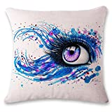 TiTCool Pillow Covers, Eyes Art Color Drawing Home Bar Sofa Decorative Cushion Cover 18 x 18 (F)