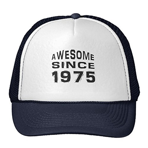 Printing Custom Flat Billed Unisex Adult Trucker Cap Mesh Hat Adjustable Hat Caps (Awesome Since 1975) ()
