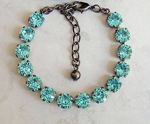 Sparkly Round Crystal Gun Metal Plated Bracelet 6 1/2 to 8
