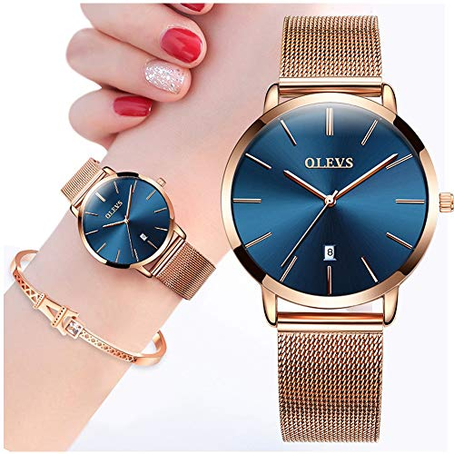 (Ultra Thin Minimalist Watches for Women with Fashion Eiffel Tower Bracelet Gift Set,OLEVS Slim Casual Dress Blue Face Dial Analog Quartz Date Wrist Watch Waterproof with Milanese Mesh Band Rose)