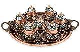 Traditional Design Handmade Copper Turkish Arabic Armenian Greek Coffee Set Espresso Set Coffee Cup Tea Set for Six- (50ml -1.7oz)-(CS6-118)