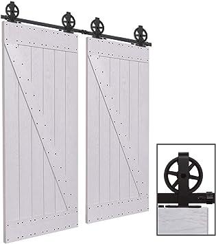 Herraje Puerta Corredera 397cm/13ft Negro, CCJH Riel Puerta Corredera Armario, Adecuado para 2 Puertas de 100 cm de ancho [T Shape Big Wheel Hanger]: Amazon.es: Bricolaje y herramientas