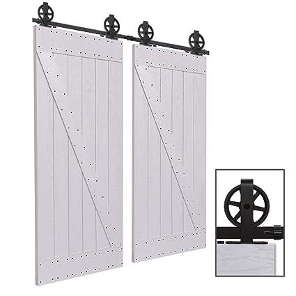 CCJH 10FT-305cm Herraje para Puerta Corredera Kit de Accesorios para Puertas Correderas Rueda Riel