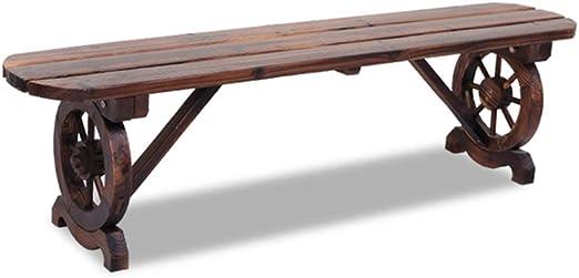 XLOO Muebles para exteriores, muebles de madera de acacia maciza, banco de patio, diseño rústico de