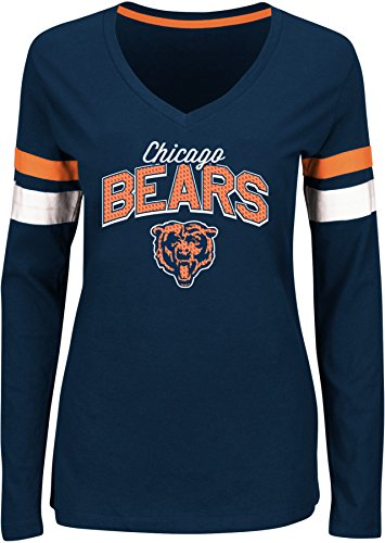 NFL Chicago Bears Women's The Essentials Lace Up Fashion Top, Large, Traditional Navy/White/Classic Orange