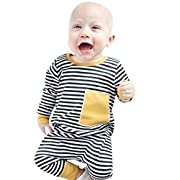 Sunbona Toddler Infant Baby Boys Striped Splice Print Long Sleeve Romper Jumpsuit Pajamas Outfits (0~6months, Yellow)