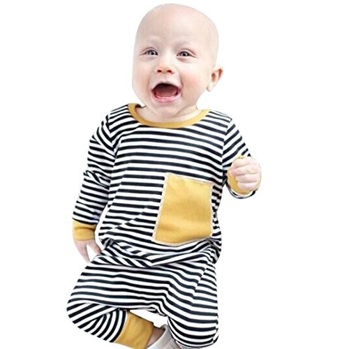 Sunbona Toddler Infant Baby Boys Striped Splice Print Long Sleeve Romper Jumpsuit Pajamas Outfits