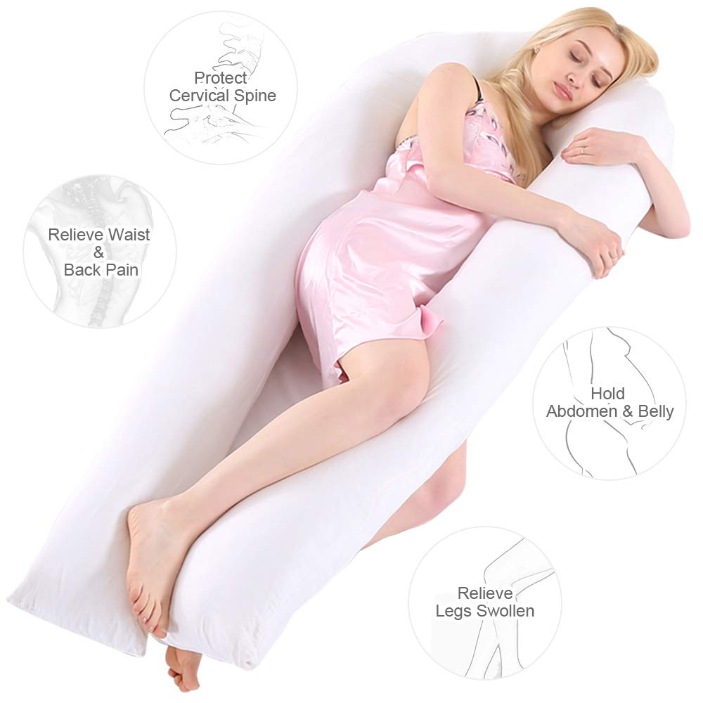 Wannafree Full Body Pregnancy Pillow - 60'' Maternity Pillow for Pregnant Women - Comfort U Shaped Body Zootzi Pillow with 100% Hypoallergenic Washable Cotton Cover