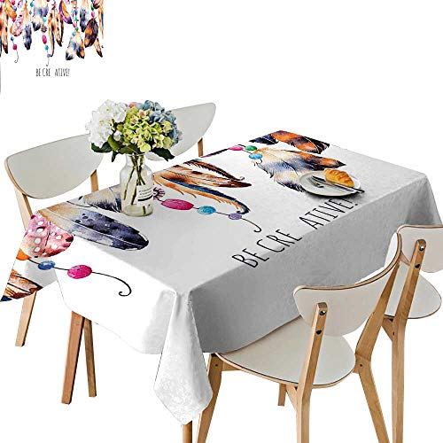 Taffeta Beading - UHOO2018 Square/Rectangle Polyester Tablecloth Table Cover Be Creative Quote Watercolor Print Feathers and Beading Boho Style White Brown for Dining Room,50 x 72inch