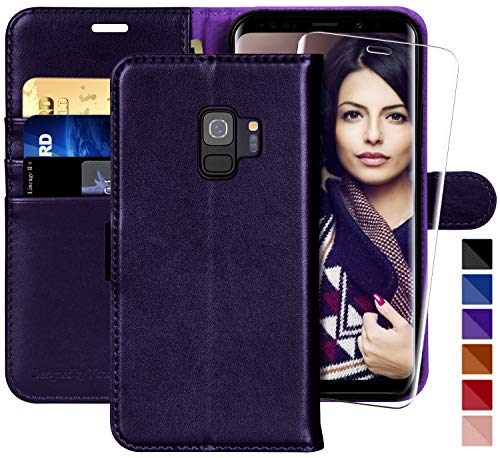 (Galaxy S9 Wallet Case, 5.8-inch,MONASAY [Included Screen Protector] Flip Folio Leather Cell Phone Cover with Credit Card Holder for Samsung Galaxy S9 (Purple))