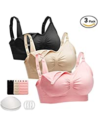 Seamless Nursing Bra Maternity Bra, Wireless Bra For Breastfeeding Pregnancy With Removable Bra Pads Extenders & Clips