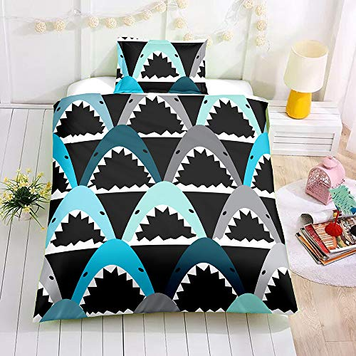 SDIII 2PC Shark Bedding Sets Ocean Themed Twin Size Duvet Cover Sets for Kids,Boys and Teens (Twin, Shark)