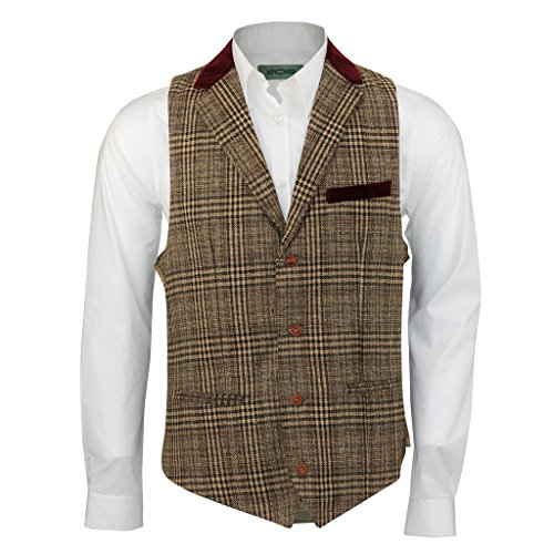 Mens Brown Tweed Check Slim Vintage Waistcoat Red Velvet Collar Trim Casual Vest[WC-4007,Chest UK 50 EU 60,Brown Velvet Trim] (Velvet Vest Vintage)