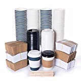 COMBO Set of 120 Paper Coffee Hot Cups with Secure Covers Lids, Protective Sleeves and Wooden Stirrers Disposable Coffee Cups - 12 OZ WHITE and BLUE Insulated To Go Travel Mug Office Pantry Party Pack