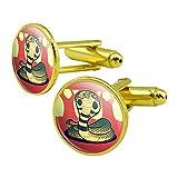 Cobra Snake Round Cufflink Set Gold Color