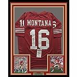 Framed Autographed/Signed Joe Montana 33x42 San Francisco 49ers Red Football Jersey JSA COA