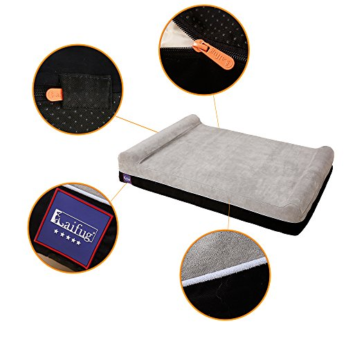 """Laifug Orthopedic Memory Foam Extra Large Dog Bed Pillow(50""""x36""""x10"""", Slate Grey) Durable Water Proof Liner & Removable Washable Cover & Smart Design"""