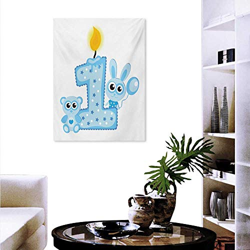 1st Birthday Wall Art Canvas Prints Boys Party Theme with a Cake and Candle Rabbit and Bear Animals Modern Wall Art for Living Room Decoration 24