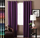 Curtains for Girls Room TURQUOIZE Pair(2 Panels) Solid Grommet Blackout Drapes, Royal Purple/ Lavender Curtains, Themal Insulated, Nursery/Girls Room Curtains Each Panel 52