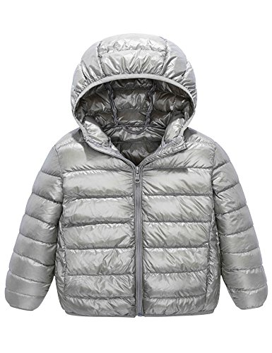 Kids' Down Jacket Straight Line Lightweight Rain-Proof Jacket with Hood and Pockets (10-12Y, Gray)