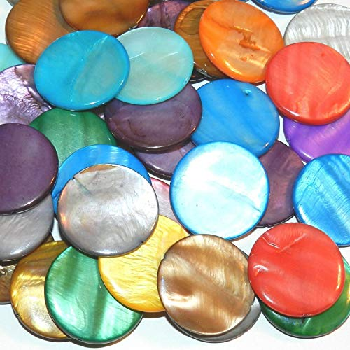 Assorted Color Mother of Pearl 30mm Flat Round Gemstone Shell Beads -