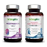 Nicotinamide 500 mg 100 Caps Plus Hair Skin and Nails 60 Tabs Skin Kit - Natural Flush-Free Vitamin Formula | Gluten-Free Nicotinic Amide Niacin | Supports Skin Health | UV Protection | Healthy Cells