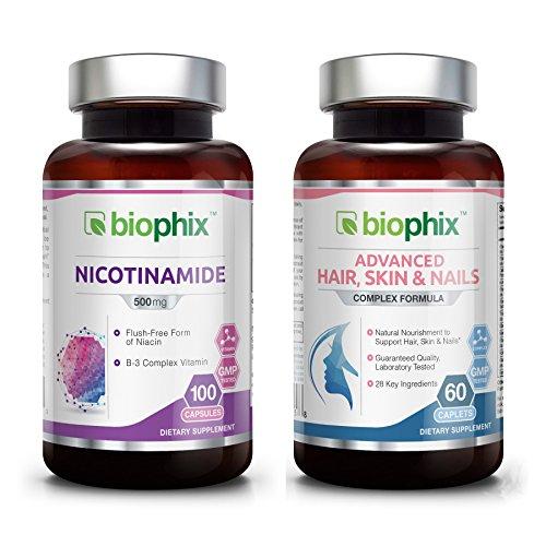 Nicotinamide 500 mg 100 Caps Plus Hair Skin and Nails 60 Tabs Skin Kit - Natural Flush-Free Vitamin Formula | Gluten-Free Nicotinic Amide Niacin | Supports Skin Health | Healthy Cells