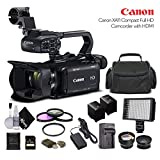 Canon XA11 Compact Full HD Camcorder 2218C002 with 64GB Memory Card, Extra Battery and Charger, UV Filter, LED Light, Case, Telephoto Lens, Wide Angle Lens, and More - Advanced Bundle