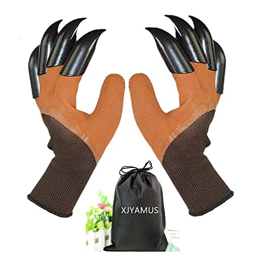 Garden Genie Gloves, Waterproof Garden Gloves with Claw For Digging Planting, Best Gardening Gifts for Women and Men. (Brown) -