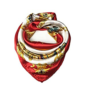 Best Epic Trends 517qy-Q9KfL._SS300_ YOUR SMILE Silk Like Scarf Women's Fashion Pattern Large Square Satin Headscarf Headdress