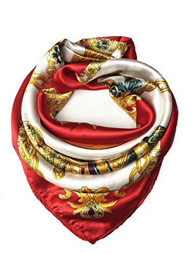 YOUR SMILE Silk Like Scarf Women's Fashion Pattern Large Square Satin Headscarf Headdress Red chain (4)