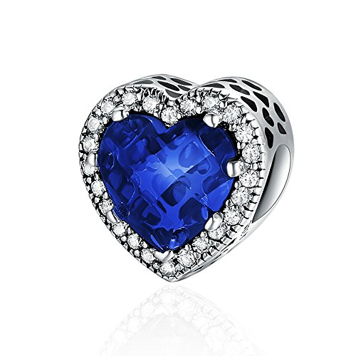 (Everbling Radiant Heart Blue CZ 925 Sterling Silver Bead Fits European Charm Bracelet )