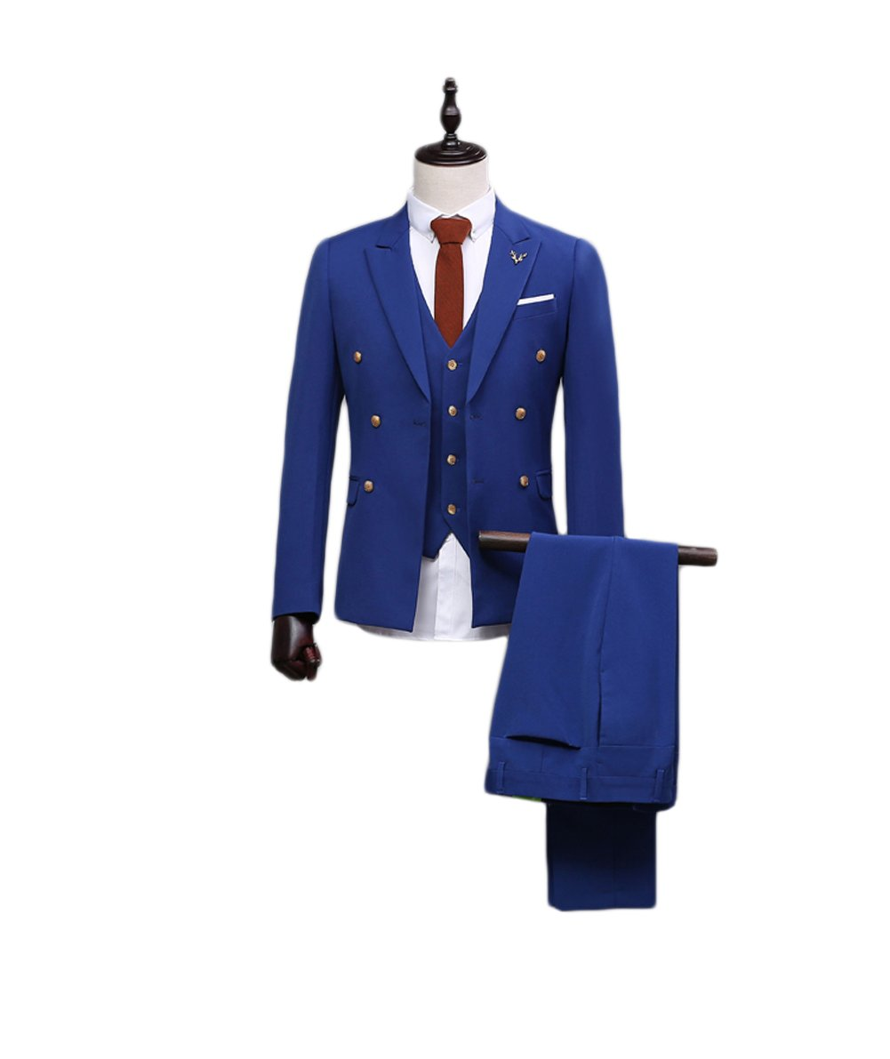 Love Dress Men's Thin Royal Blue Fit Suit 3-Piece Suit Best Men Gown M