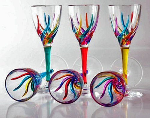 GLASSWARE - ''VENETIAN CARNEVALE'' CORDIAL GLASS SET OF SIX - HAND PAINTED CRYSTAL by KensingtonRow Home Collection