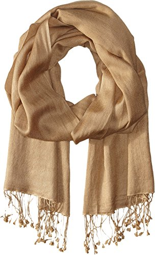 Betsey Johnson Women's Cashmere/Silk Real Pashmina Camel I Scarf One Size